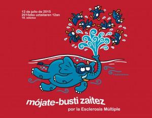 Imagen de la campaña Busti zaitez - Mójate 2015 diseñada por Kukuxumusu para la Fundación Vasca Esclerosis Múltiple